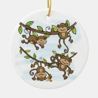 Monkey Shine Double-Sided Ceramic Round Christmas Ornament