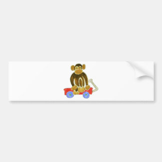 Monkey Sitting On Wagon Bumper Sticker