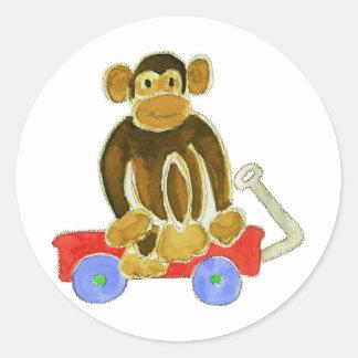 Monkey Sitting On Wagon Classic Round Sticker