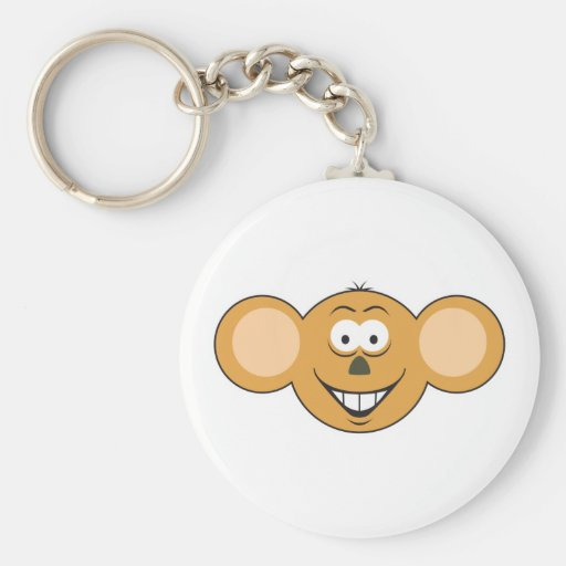Monkey  Smiley Face Keychain