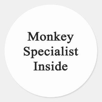Monkey Specialist Inside Classic Round Sticker