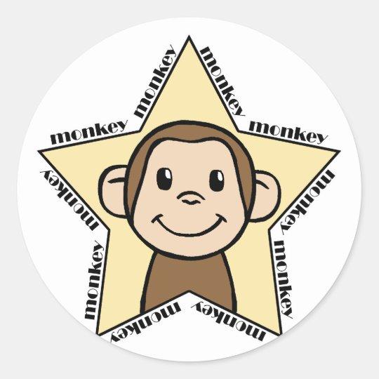 Monkey Star Classic Round Sticker
