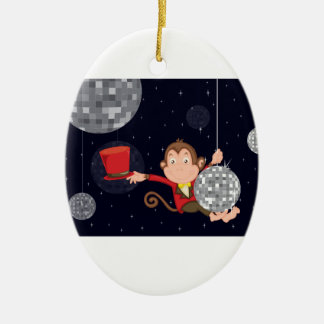 Monkey star Double-Sided oval ceramic christmas ornament