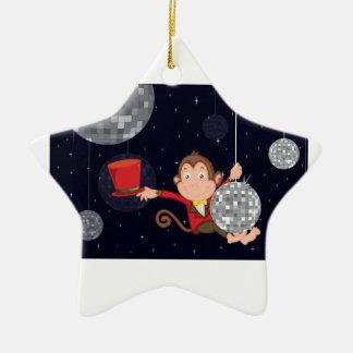 Monkey star Double-Sided star ceramic christmas ornament