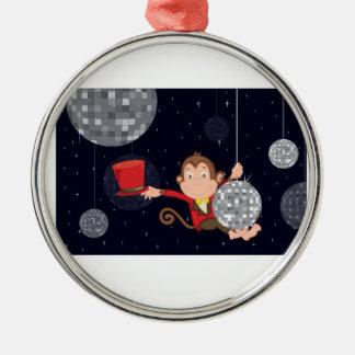 Monkey star round metal christmas ornament