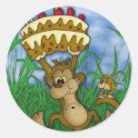 monkey sticker Happy Birthday with monkey holding