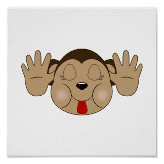 Monkey Sticking Out Tongue Poster