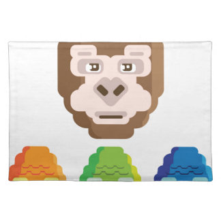 Monkey Stylized Icon Cloth Placemat