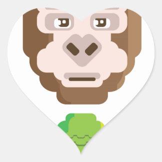Monkey Stylized Icon Heart Sticker
