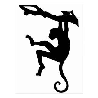 Monkey Swinging in Tree Silhouette Cartoon Post Cards