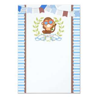 Monkey Thank You Card for Birthday or Baby Shower