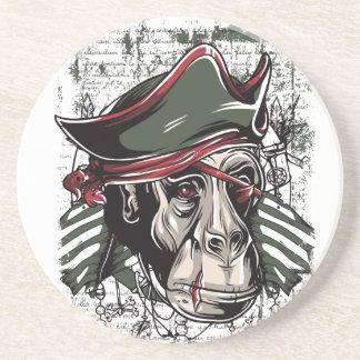monkey the pirate cute design drink coaster