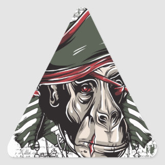 monkey the pirate cute design triangle sticker