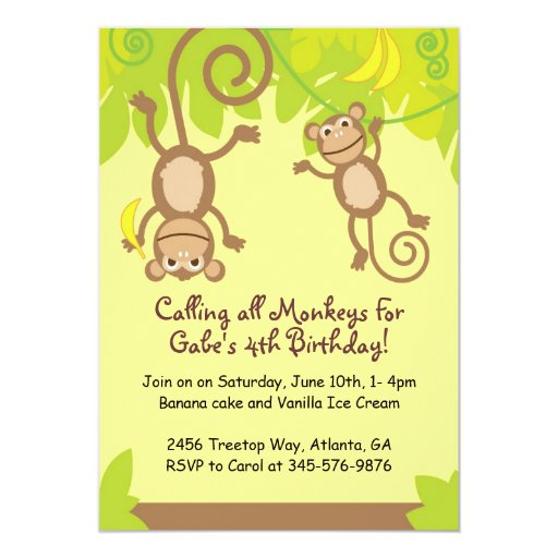 Monkey Themed  Birthday Party Invitation