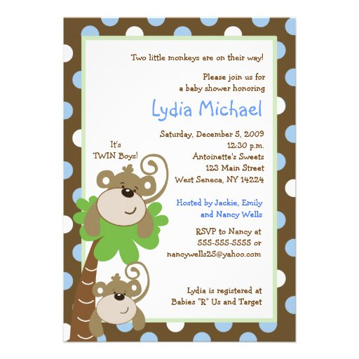 Monkey Time 5x7 TWINS Jungle Baby Shower Personalized Invites