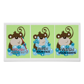 MONKEY TIME BATHROOM ART PRINTS - Set of 3 Posters