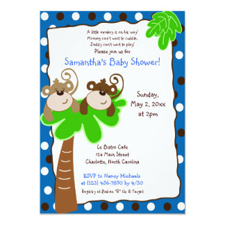 MONKEY TIME (Blue/Brown) Baby Shower Invitation