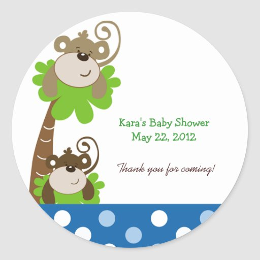 MONKEY TIME (BLUE) Custom Favor Sticker