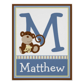 Monkey Time Letter & Name Wall Art Poster 11x14