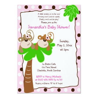 MONKEY TIME (Pink/Brown) Girl Baby Shower Invite