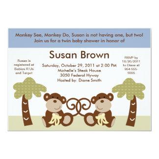 Monkey Time Twin Baby Boys Shower Invitation