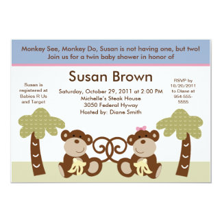 Monkey Time Twins Baby Shower Invitation