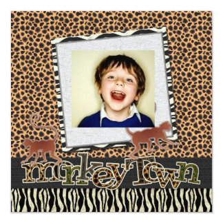 Monkey town Safari Zoo Birthday Photo Invitation