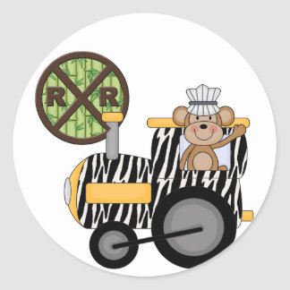 Monkey Train Engineer T-shirts and Gifts Classic Round Sticker