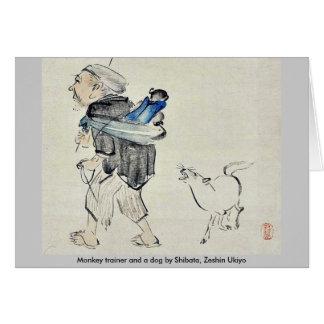 Monkey trainer and a dog by Shibata, Zeshin Ukiyo Greeting Cards
