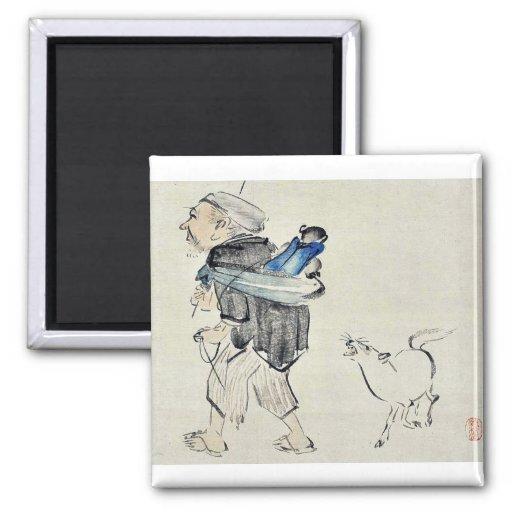 Monkey trainer and a dog by Shibata, Zeshin Ukiyo Refrigerator Magnet