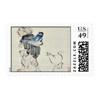 Monkey trainer and a dog by Shibata, Zeshin Ukiyo Stamps