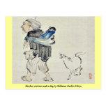 Monkey trainer and a dog by Shibata, Zeshin Ukiyo Postcard