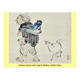 Monkey trainer and a dog by Shibata, Zeshin Ukiyo Postcards