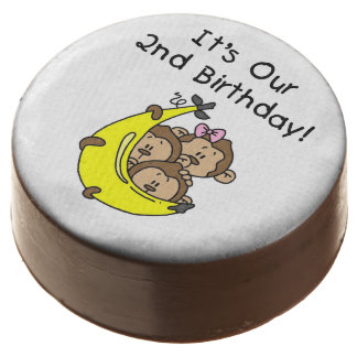Monkey Triplets 2nd Birthday Dipped Oreos Chocolate Covered Oreo