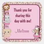 MONKEY Tu Tu Cute Baby Shower square sticker TTC
