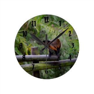 monkey turned away on railing round clock