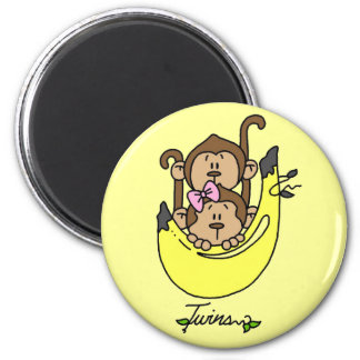 Monkey Twin Boy and Girl Tshirts and Gifts 2 Inch Round Magnet