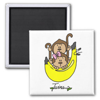 Monkey Twin Boy and Girl Tshirts and Gifts 2 Inch Square Magnet