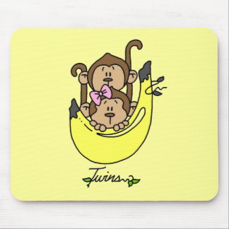 Monkey Twin Boy and Girl Tshirts and Gifts Mouse Pad