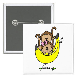 Monkey Twin Boy and Girl Tshirts and Gifts Pinback Button