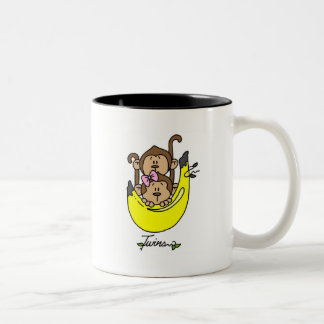 Monkey Twin Boy and Girl Tshirts and Gifts Two-Tone Coffee Mug