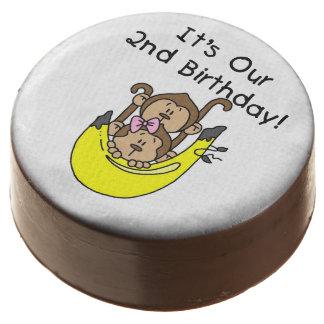 Monkey Twin Boy/Girl 2nd Birthday Dipped Oreos Chocolate Covered Oreo