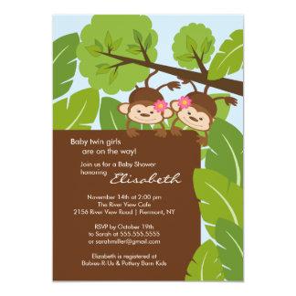 monkey twins baby shower invitation girls