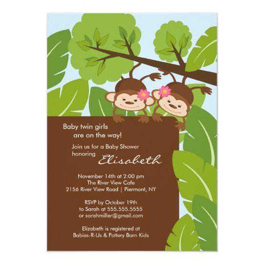 Monkey Twins Baby Shower Invitation Girls