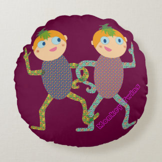 Monkey Twins Round Pillow