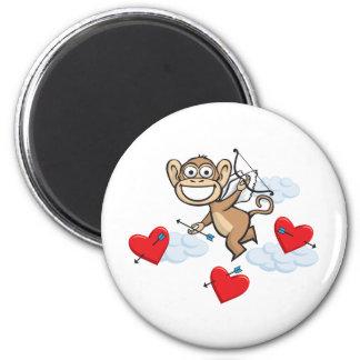 Monkey Valentine 2 Inch Round Magnet