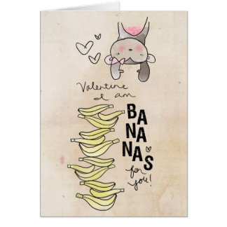Monkey Valentine | I Am Bananas For You Card