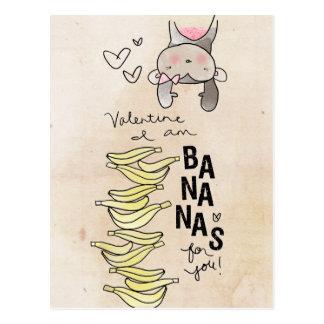 Monkey Valentine | I Am Bananas For You Postcard