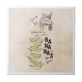 Monkey Valentine | I Am Bananas For You Small Square Tile