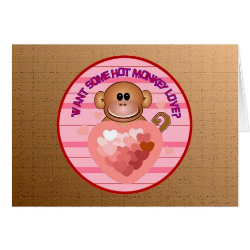 Monkey Valentines Day Greeting Cards